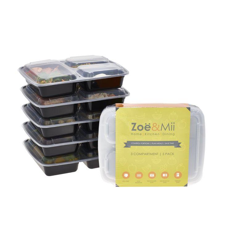 [5er Pack] 3-Fach Mahlzeitvorbereitung Lebensmittelbehälter Lagerung…