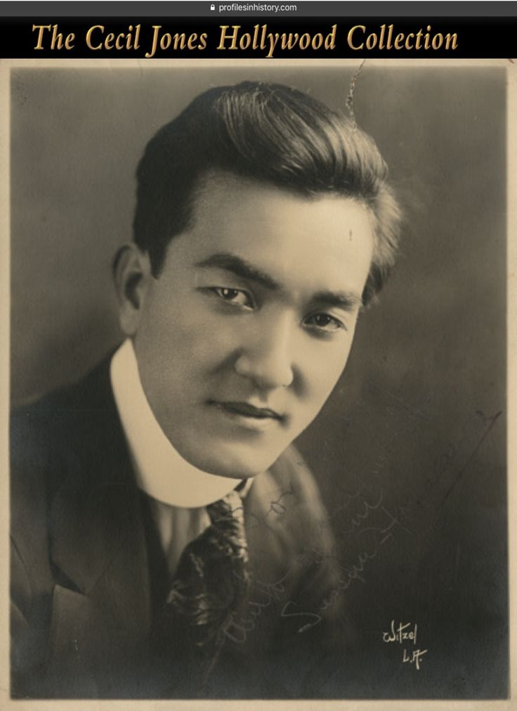 """Sessue Hayakawa - Signed photograph by Witzel. (ca. 1920s) Vintage original gelatin silver double-weight matte photograph by Witzel inscribed and signed, """"For (sic) with sincere regards Sessue Hayakawa"""". NOTE: Sessue Hayakawa was one of the biggest stars in Hollywood during the silent era of the 1910s and 1920s and was best known and nominated as Best Supporting Actor for his portrayal as the Japanese commandant in the classic 1957 movie """"The Bridge on the River Kwai""""."""