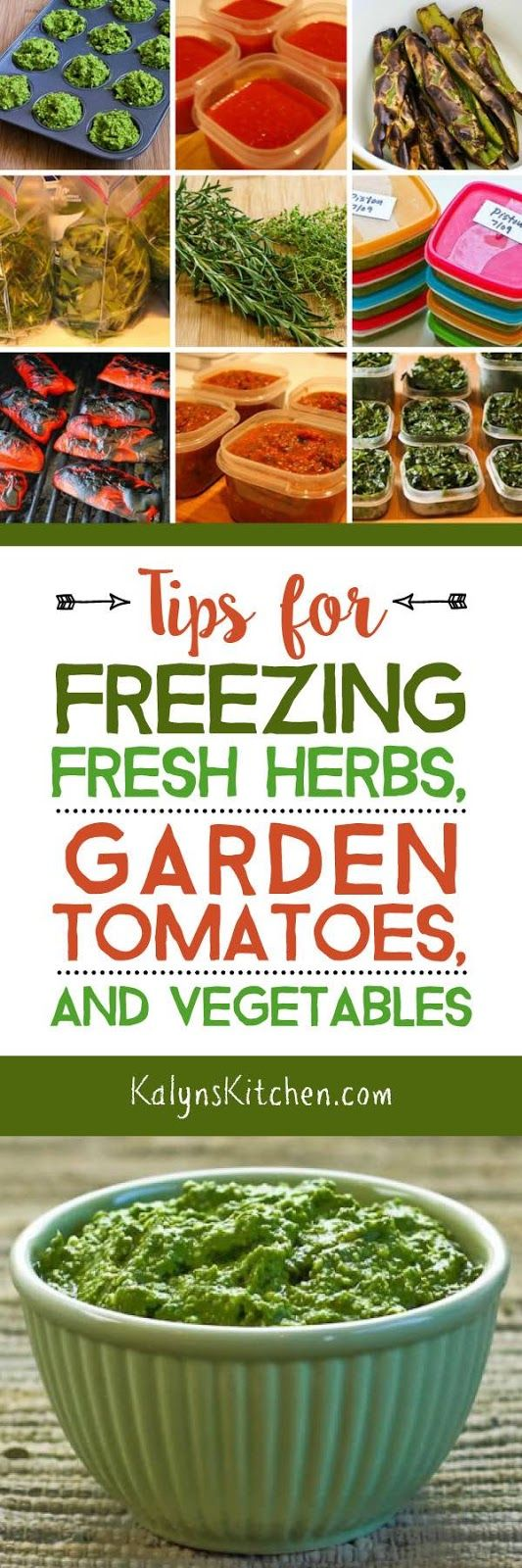 I've been gardening for many, many years, and this post shares my best and easiest Tips for Freezing Fresh Herbs, Garden Tomatoes, and Vegetables! Hope it's useful for other gardeners. And if you have a tip I don't know about, please leave it as a comment on the post! [found on KalynsKitchen.com]