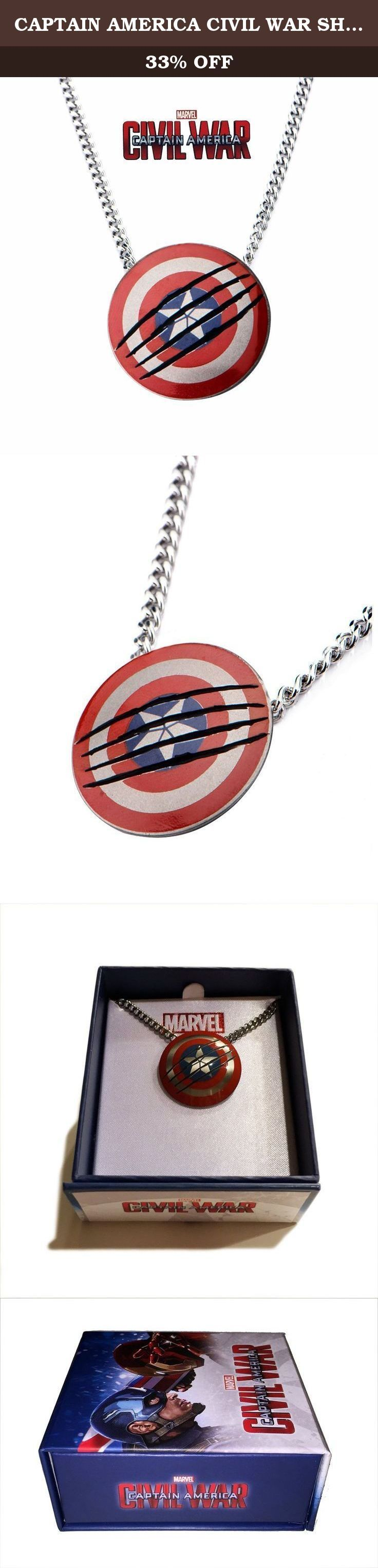 CAPTAIN AMERICA CIVIL WAR SHIELD PENDANT NECKLACE LTD. EDITION EXCLUSIVE. Captain America Civil War Exclusive Necklace features Cap's Shield as scratched and clawed by the Black Panther in the Blockbuster movie. (The Black Panther's Claws are made out of the same Vibranium Metal as the Shield.) Both the Chain and the Pendant are 100% Surgical Stainless Steel and made with the highest quality by Inox Jewelry.