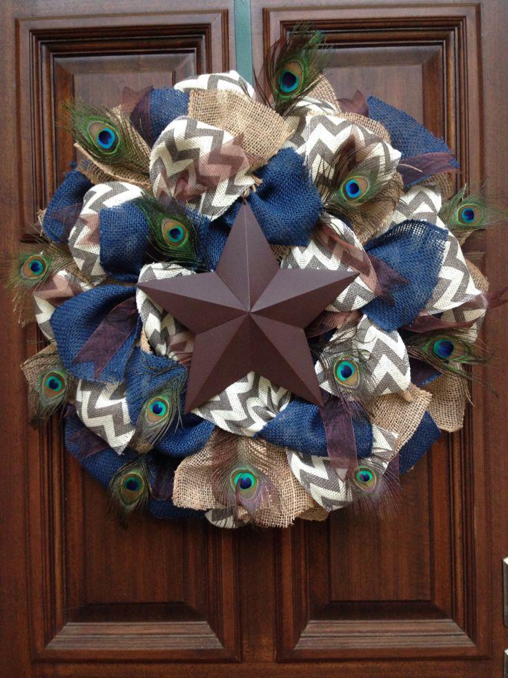 Peacock Star Wreath by Jarabels on Etsy https://www.etsy.com/listing/199189435/peacock-star-wreath