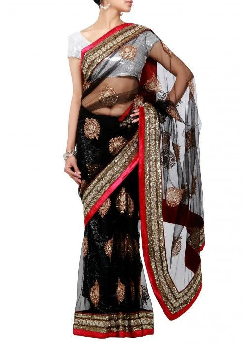 Black net saree with antique embroidery by Kalki
