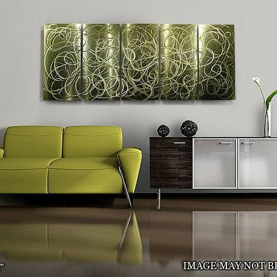 Green Abstract Painting - Modern Metal Wall Art - Contemporary Accent - Home Decor - Green & 108 best Shades of Spring 2016! images on Pinterest | Metal walls ...
