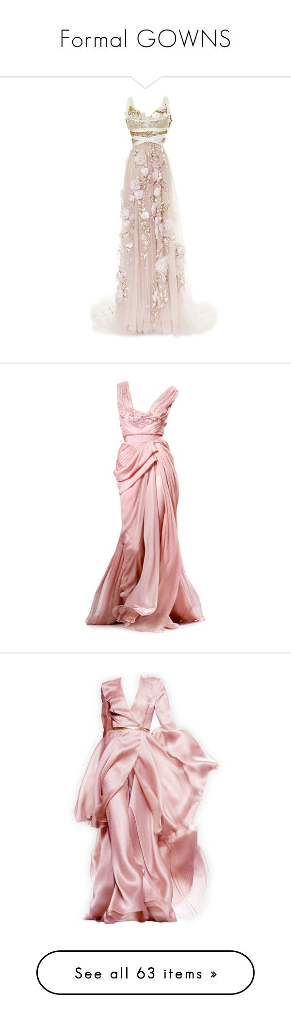 """Formal GOWNS"" by wanda-india-acosta ❤ liked on Polyvore featuring dresses, gowns, white dress, silk gown, white evening gowns, empire waist dress, white wrap dress, long dress, pink and pink dress"
