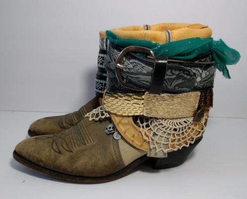 Boho Gypsy Blue Cowboy Boots Size 9 Vintage Leather OOAK Handmade Hippie Mermaid