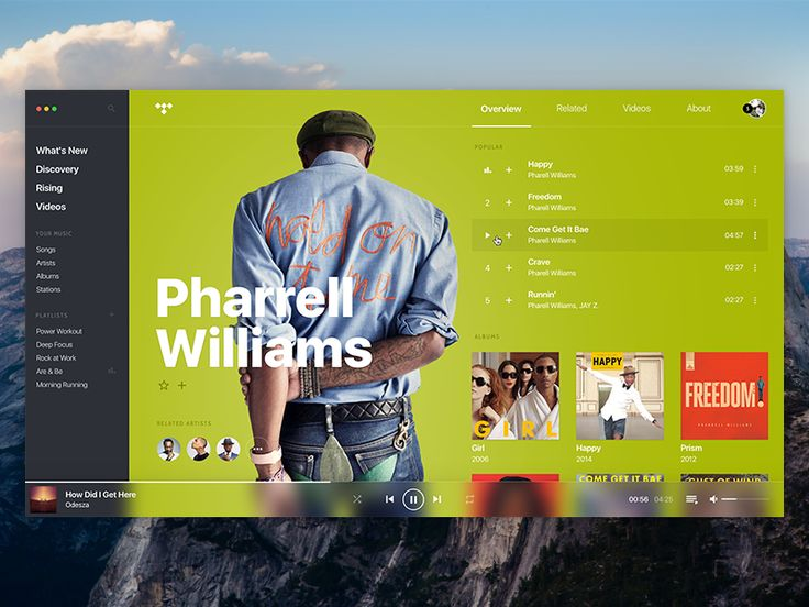 """Leonardo Navarro - TIDAL • Concept, player, artist page.  <p>That's only a variation of the shot I did last week. See ya! <br /><a href=""""https://dribbble.com/shots/3172185-TIDAL-Concept-player-artist-page"""" rel=""""noreferrer"""">https://dribbble.com/shots/3172185-TIDAL-Concept-player-artist-page</a></p>  apple music,artist,mac os,music,player,song,spotify,tidal,ui,user experience,user interface,ux"""