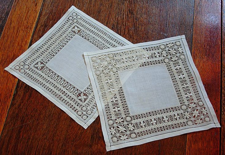 "Antique Linen Drawn Work Lace Doilies ~ likely worked as drawn work lace ""samplers"" to show off exceptional skill in this art form. Offered as found, in clean and excellent condition. c.1900 9"" square ~ sold by Em's Heart Antique Linens"