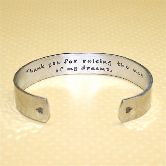 Mothers Day / Mother in Law / Mother of the Groom Gift - Thank you... Custom Hand Stamped Cuff Bracelet by Korena Loves