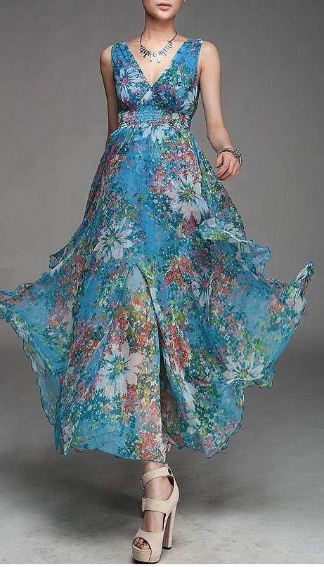 Blue V-Neck Floral Chiffon Maxi Dress