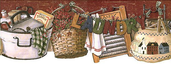 Country Laundry Basket Bucket Country Laundry Room Border Wallpaper Border Primitive Wallpaper Country Primitive