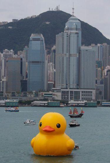 "Dutch artist Florentijn Hofman's 50-foot tall ""Rubber Duck Project"" in Hong Kong's Victoria Harbor."