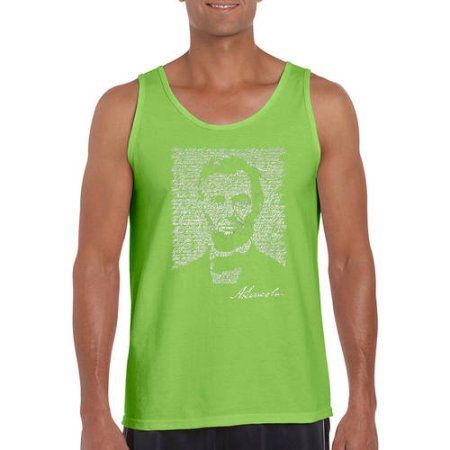Los Angeles Pop Art Big Men's Tank Top - Abraham Lincoln - Gettysburg Address, Size: 3XL, Green