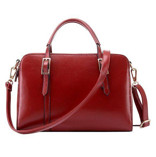 Molly Damen Lässig Rein Farbe Schnalle Schulter Tasche Handtasche Wein Rot