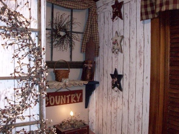 Primitive Bathroom Decor | Primitive-Americana Bathroom, I redid the entire bathroom wallpapered ...