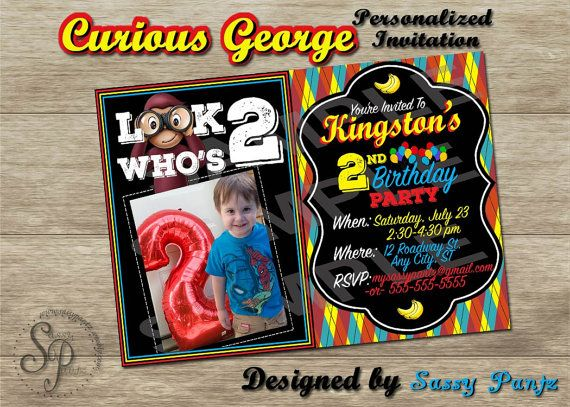 Curious George Printable Party Invitation by SassyPantzByTabitha