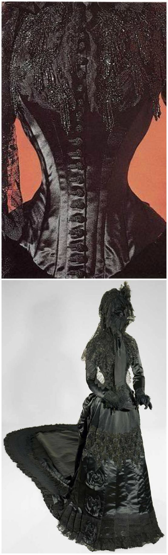 Formal court mourning dress of Empress Elisabeth of Austria, made by Fanni Scheiner, dated after 1877. Kunsthistorisches Museum Wien / Wagenburg und Monturdepot. Photos: (Top): Joshua Greene; (Bottom): Kunsthistorisches Museum Wien. Bodice of black satin trimmed with Chantilly lace and jet bead embroidery, black satin skirt with bustle and train, black lace bonnet and black velvet veil-mask edged with black lace.