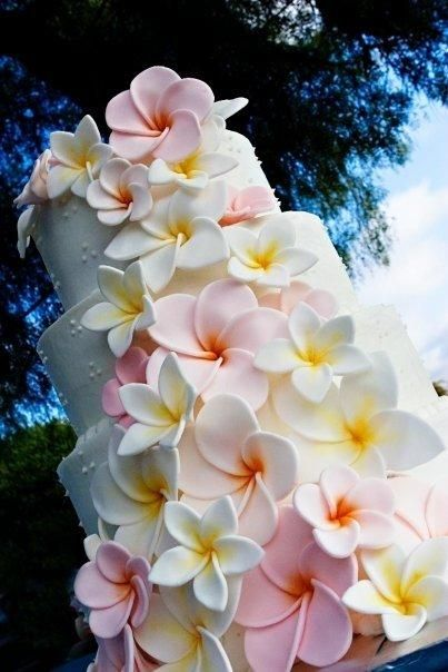 Plumerias on my wedding cake is a Must! I LOVE this!