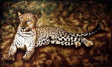 "Saatchi Art Artist Dan Civa; Painting, ""Leopard in  Wildlife Sanctuary, Sri Lanka"" #art"