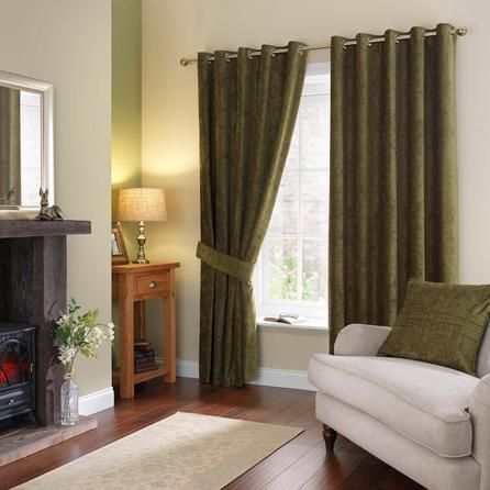Dunelm Forest Green Chenille Eyelet Curtains