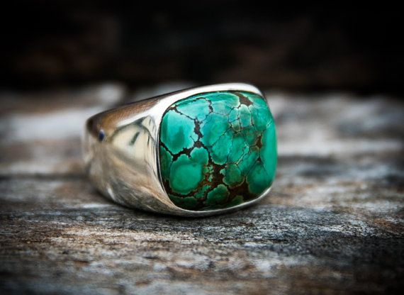 Turquoise Ring. Large Turquoise Ring size 9 by NaturalRockShop