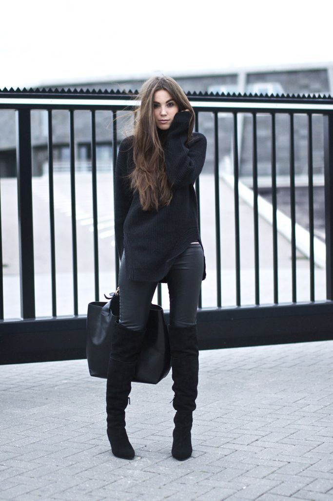 Wear a black wool rollneck with black leather fitted pants to feel confidently and look fashionably. A pair of black suede over the knee boots will seamlessly integrate within a variety of outfits.  Shop this look for $138:  http://lookastic.com/women/looks/black-turtleneck-black-skinny-pants-black-tote-bag-black-over-the-knee-boots/4638  — Black Wool Turtleneck  — Black Leather Skinny Pants  — Black Leather Tote Bag  — Black Suede Over The Knee Boots