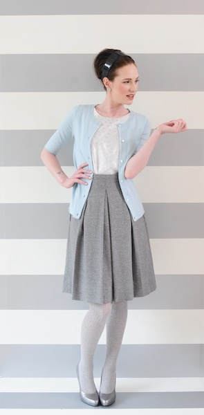 the westgate cardigan and wool flynnFashion, Grey Skirts, Clothing, Grey Tights, Matching Skirts, Gray Skirts, Summer Colors, Silver Tights, Librarians Chic