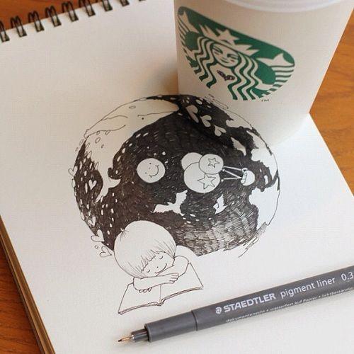 Starbucks Coffee Cup Art by Tomoko Shintani | Just Imagine - Daily Dose of Creativity