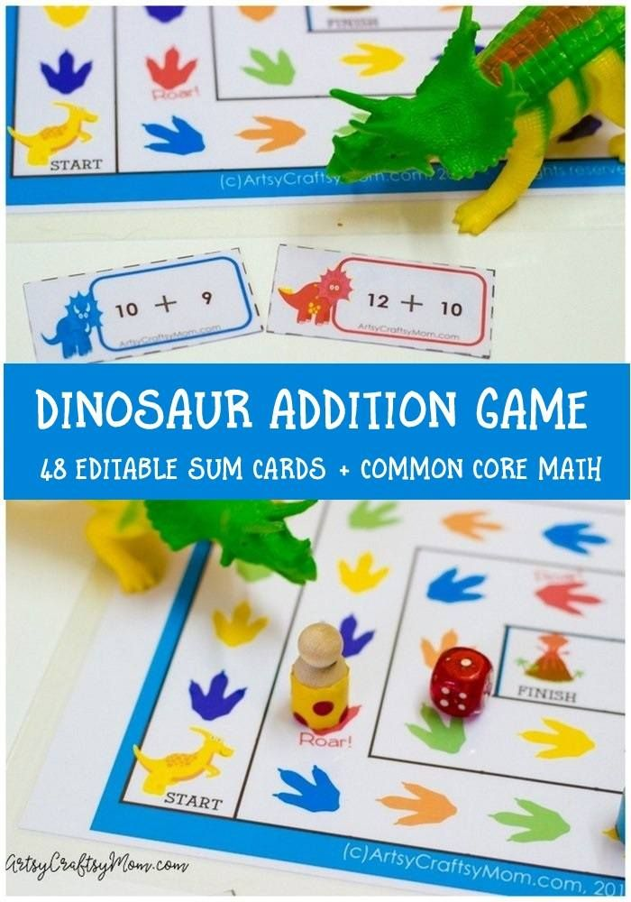 These cute dinosaurs will help you learn addition in a jiffy - Maths was never so much fun! Printable Dinosaur Addition Game via @artsycraftsymom