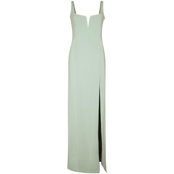 Galvan Mint crepe gown (19.935 ARS) ❤ liked on Polyvore featuring dresses, gowns, crepe dress, mint green gown, mint evening gown, green gown and panel dress