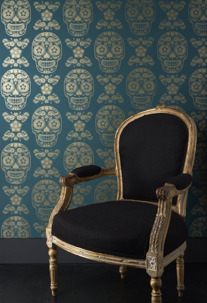 Day of the Dead wallpaper AND black-on-gold chair.  A throne befitting well, me!