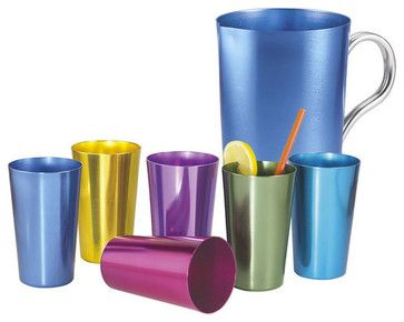 Aluminum Tumblers by Whatever Works $19.99 - reminds of  my Grandma's house when she'd give us lemon cordial!