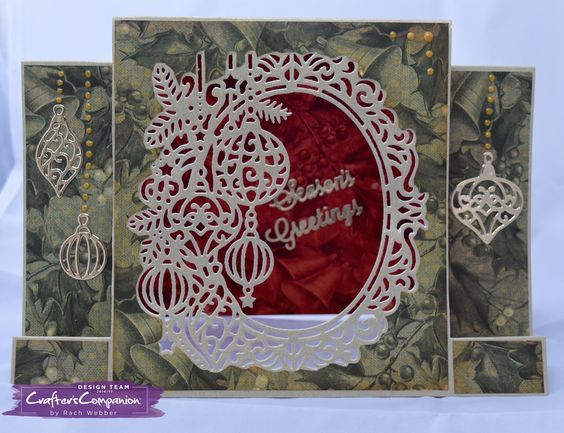"""Centre Stepper card made using Crafter's Companion Die'sire Christmas Create a Card – """"Beautiful Baubles"""". Designed by Rachel Webber #crafterscompanion"""