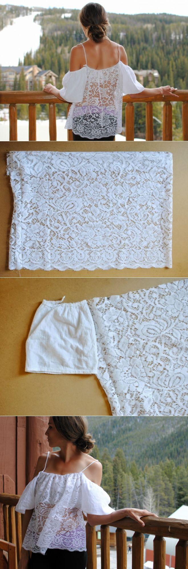 Blusa reutilizando un trozo de blonda, ¡Qué curioso, yo me he hecho una casi igual este verano!