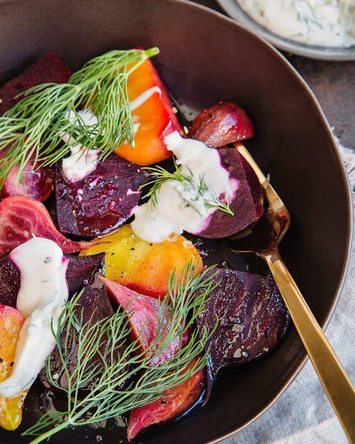 Roasted Beets with Mustard Crème Fraîche Dressing