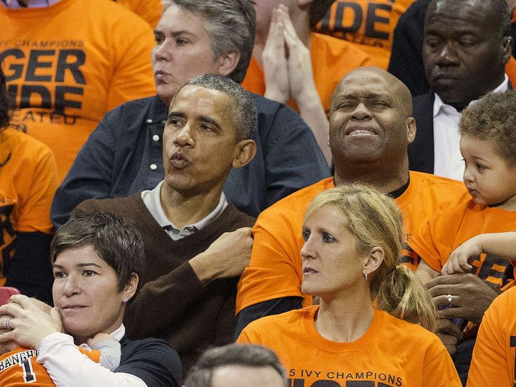 President Barack Obama and brother-in-law Craig Robinson, watch Princeton play Wisconsin-Green during the first round of the NCAA women's college basketball tournament in College Park, Md. President Obama's niece, Leslie Robinson, plays for Princeton.  Pablo Martinez Monsivais, AP