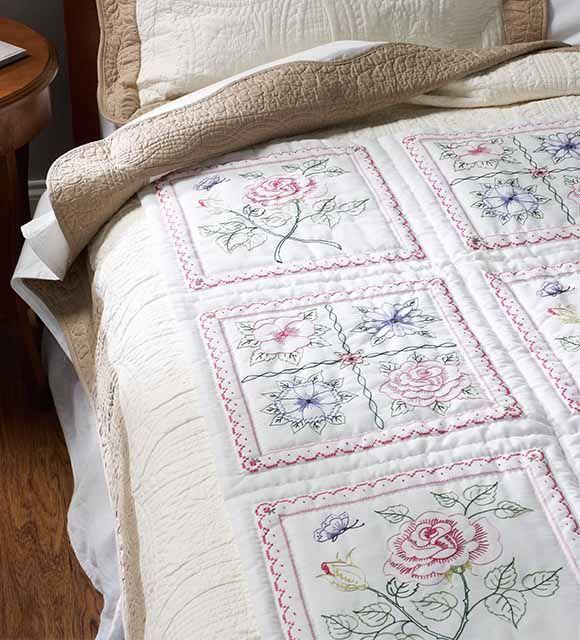 Bucilla ® Stamped Cross Stitch - Quilt Blocks - Floral   Plaid Enterprises