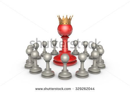 Chess pieces on a white background. In the center of a large red pawn (with a golden crown). It's a metaphor - the parliamentary elections and the political elite.