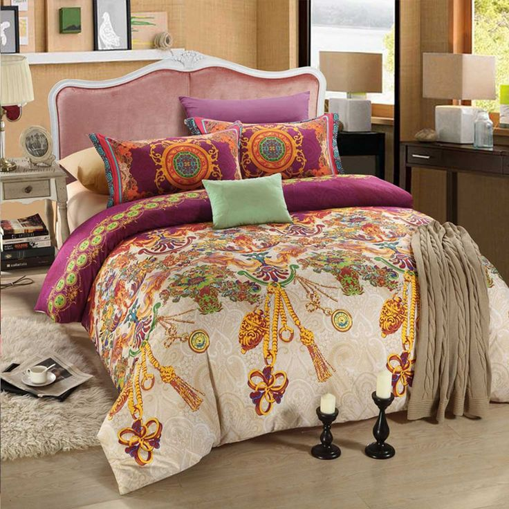 violet and gold floral romantic bed set - Romantic Bed Sets