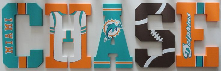 Miami Dolphins Inspired Wall letters by SilverSprout on Etsy, $12.00