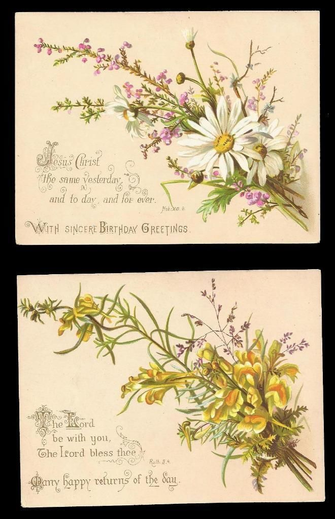 M60 - 2 VICTORIAN RELIGIOUS BIRTHDAY CARDS - MATCHED PAIR - BIBLE QUOTE - 1885 | eBay