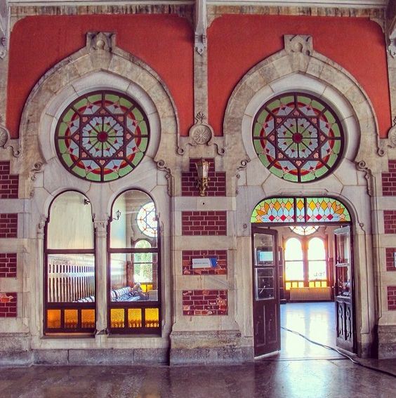 The colored glass decorated windows and doors of Sirkeci Train Station.