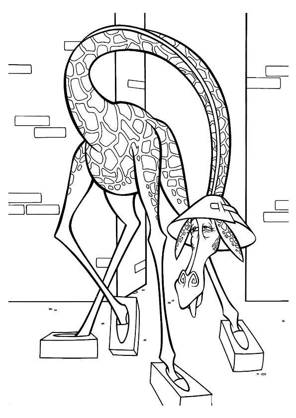 Dessin à colorier de Melman, la girafe du dessin animé Madagascar avec son chapeau