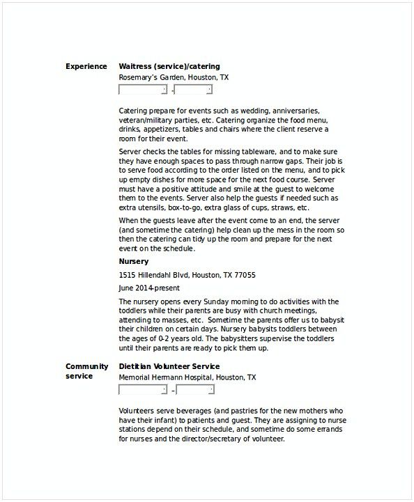 Server Waitress Resume  Hotel And Restaurant Management  Being