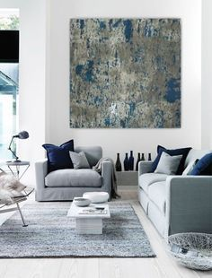 Large abstract painting teal blue navy grey gray white canvas art wall art big huge painting contemporary minimalist modern