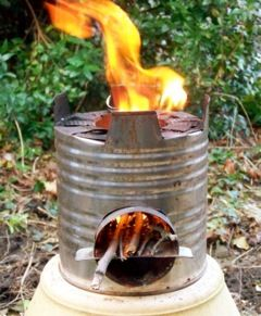 ROCKET STOVE, I keep saving cans to make one but then I just throw them away when I get too buisy.