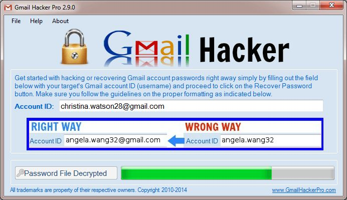 Gmail Hacker / Gmail password hack Tool
