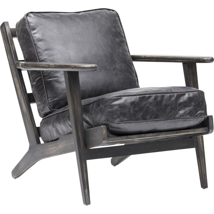 Brooks Leather Lounge Chair, Ebony