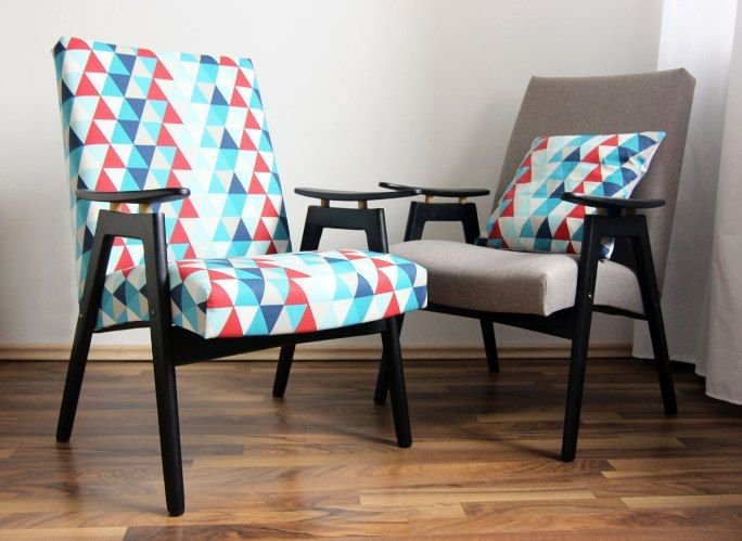 retro modern armchairs, uphostery, restored furniture, Czechoslovakia design, midcentury modern,