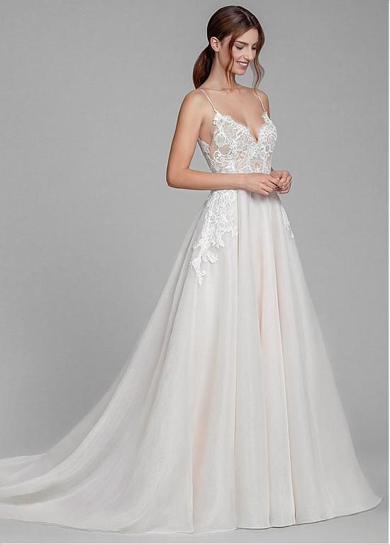 Magbridal Fabulous Tulle & Organza Spaghetti Straps Neckline A-line Wedding Dresses With Lace Appliques