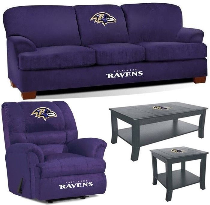 [[start tab]] Description The Baltimore Ravens NFL Mega Fan Cave Set is made for the Big and Tall Fan. Plus, we have added the matching Coffee Table and Side Table to complete the Set. The First Team
